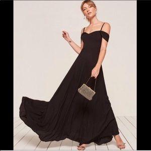 NWT Reformation Poppy Dress, Black, Size 10